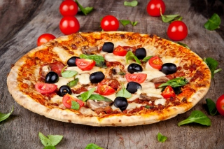 Pizza with tomatoes and olives Background for Android, iPhone and iPad