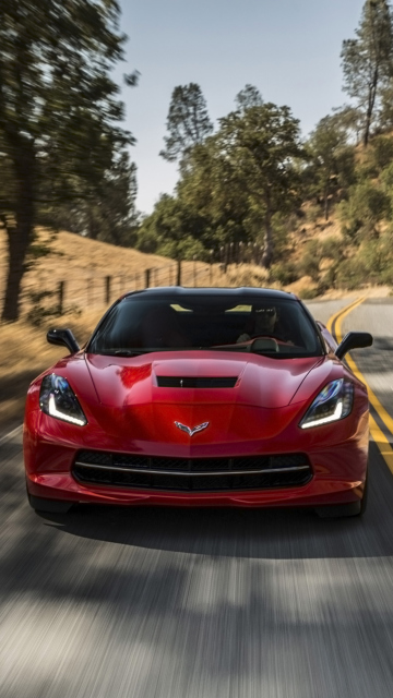 Das 2014 Red Chevrolet Corvette Stingray Wallpaper 360x640