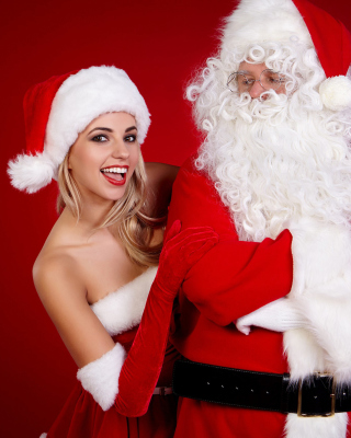 Santa Claus and Cute Blonde Snow Maiden sfondi gratuiti per iPhone 5