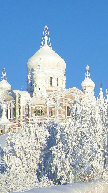 Das Winter Church Wallpaper 360x640