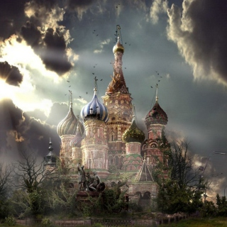 Free St Basil's Cathedral Moscow Red Square Artistic Clouds Picture for iPad Air