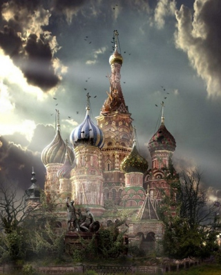St Basil's Cathedral Moscow Red Square Artistic Clouds Wallpaper for Nokia C5-06