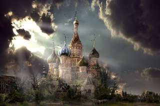 St Basil's Cathedral Moscow Red Square Artistic Clouds Picture for 1366x768
