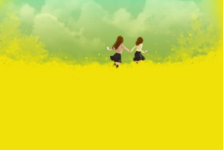 Girls Running In Yellow Field Wallpaper for Android, iPhone and iPad