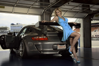 Super Blonde In Front Of Super Car Wallpaper for Android, iPhone and iPad