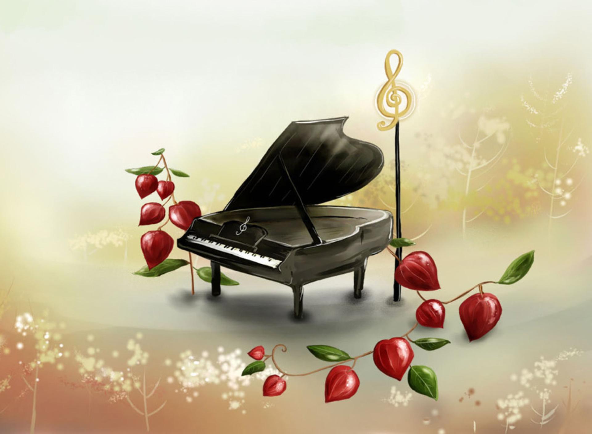 Открытка с фортепиано