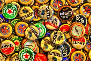 Beer caps - Amstel, Sands, Miller Background for Android, iPhone and iPad