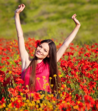 Free Happy Girl In Flower Field Picture for HTC Titan