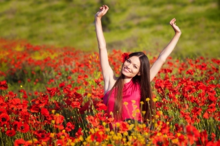 Happy Girl In Flower Field Background for Android, iPhone and iPad