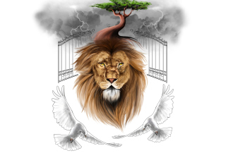 Lion Painting Background for Android, iPhone and iPad