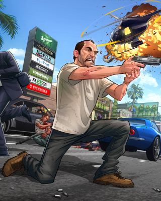 Free GTA 5 Battle Picture for Nokia Asha 300