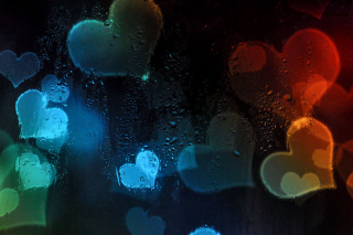 Hearts Behind Glass Wallpaper for Android, iPhone and iPad