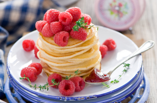 Tasty Raspberry Pancakes Wallpaper for Android, iPhone and iPad