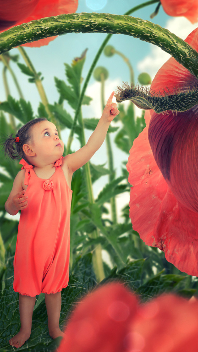Sfondi Little kid on poppy flower 640x1136
