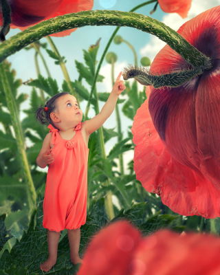 Little kid on poppy flower sfondi gratuiti per 640x960