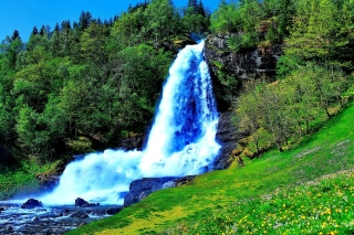 Waterfall Trekking in the mountains Background for Android, iPhone and iPad