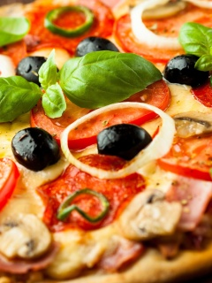 Screenshot №1 pro téma Pizza with mushrooms and tomatoes 240x320