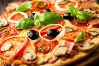 Pizza with mushrooms and tomatoes Wallpaper for Android, iPhone and iPad