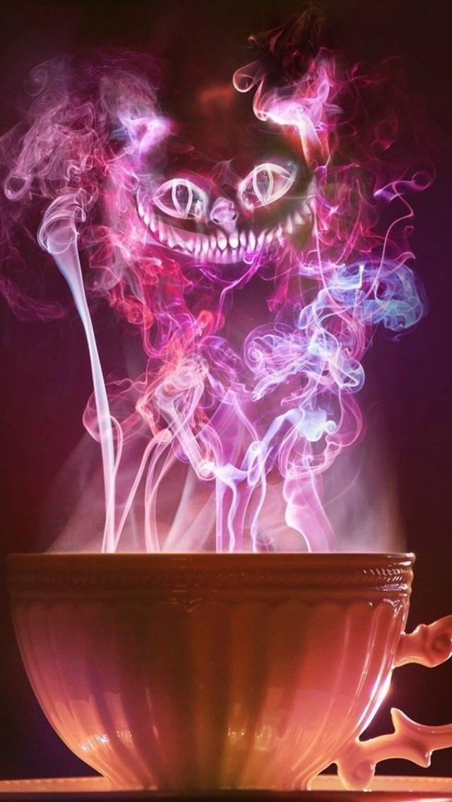 Das Cheshire Cat Mystical Smoke Wallpaper 640x1136