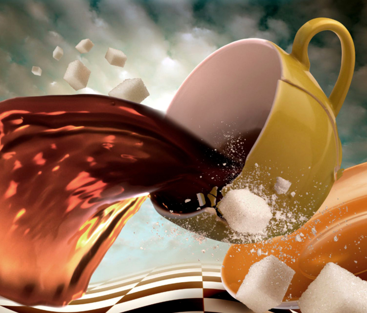 Screenshot №1 pro téma Surrealism Coffee Cup with Sugar cubes 1200x1024