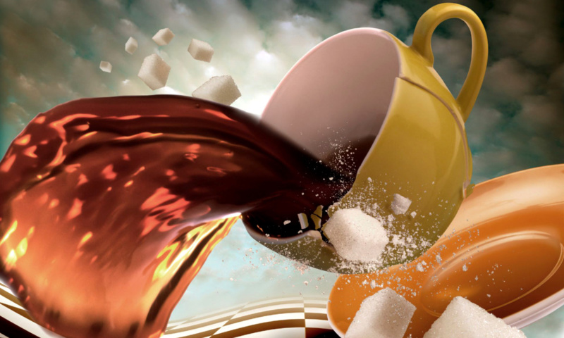 Screenshot №1 pro téma Surrealism Coffee Cup with Sugar cubes 800x480