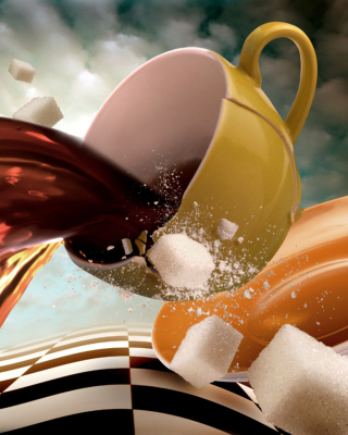 Surrealism Coffee Cup with Sugar cubes Background for Nokia Asha 311
