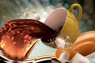 Surrealism Coffee Cup with Sugar cubes Background for Android, iPhone and iPad