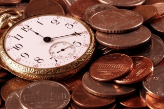 Dollar Cents and Watch Wallpaper for 220x176