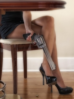 Fondo de pantalla Girls Legs and Revolver 240x320