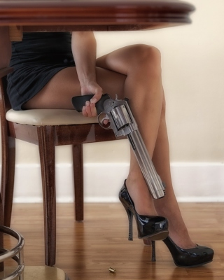 Girls Legs and Revolver Wallpaper for 640x1136