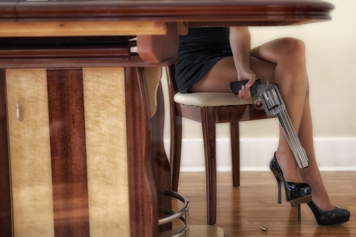 Girls Legs and Revolver wallpaper