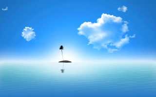 Lonely Palm Tree Island Background for Android, iPhone and iPad