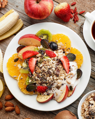 Breakfast, coffee, muesli Picture for 480x800