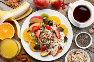 Breakfast, coffee, muesli Background for 960x854