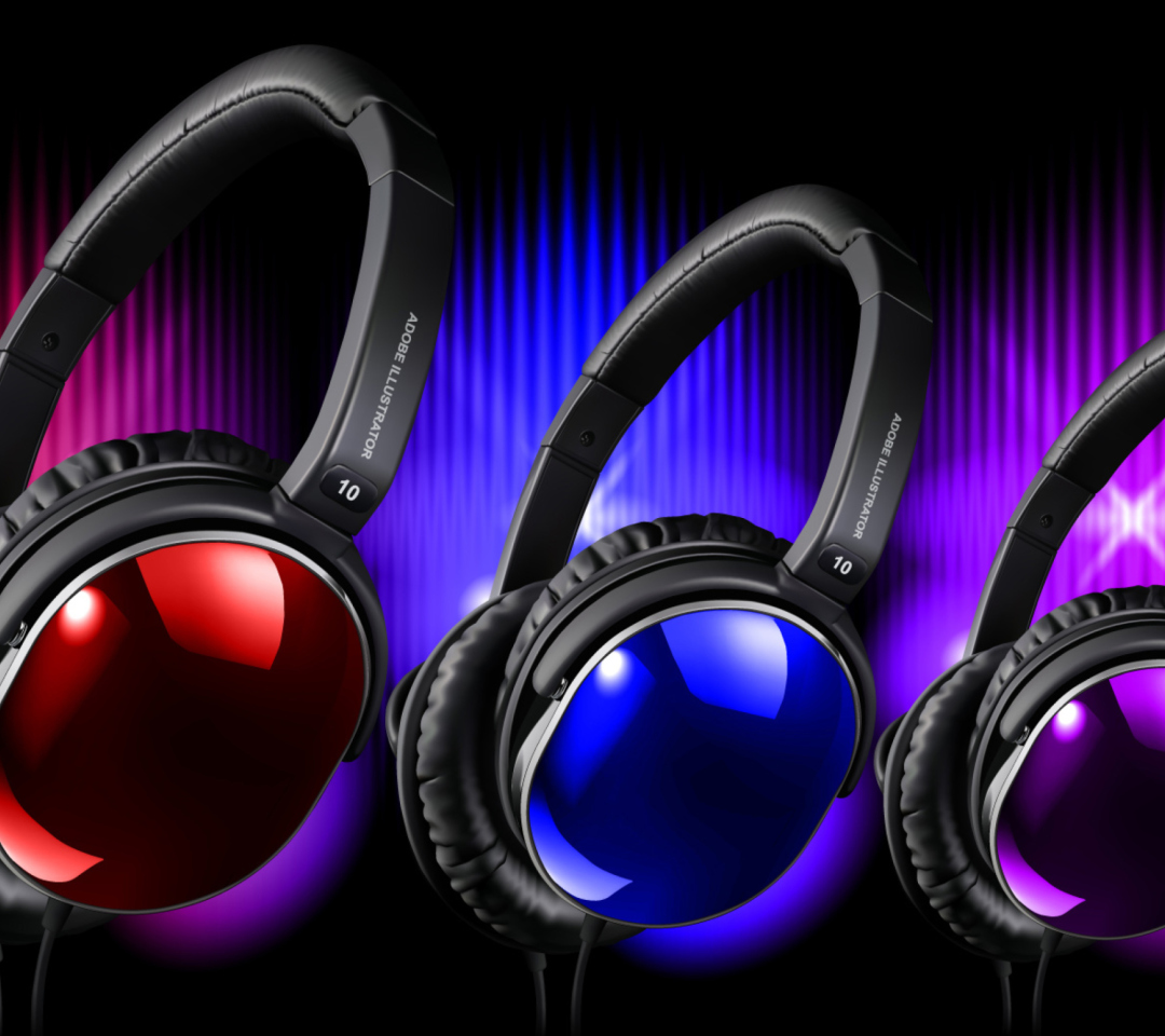 Colorful Headphones wallpaper 1080x960