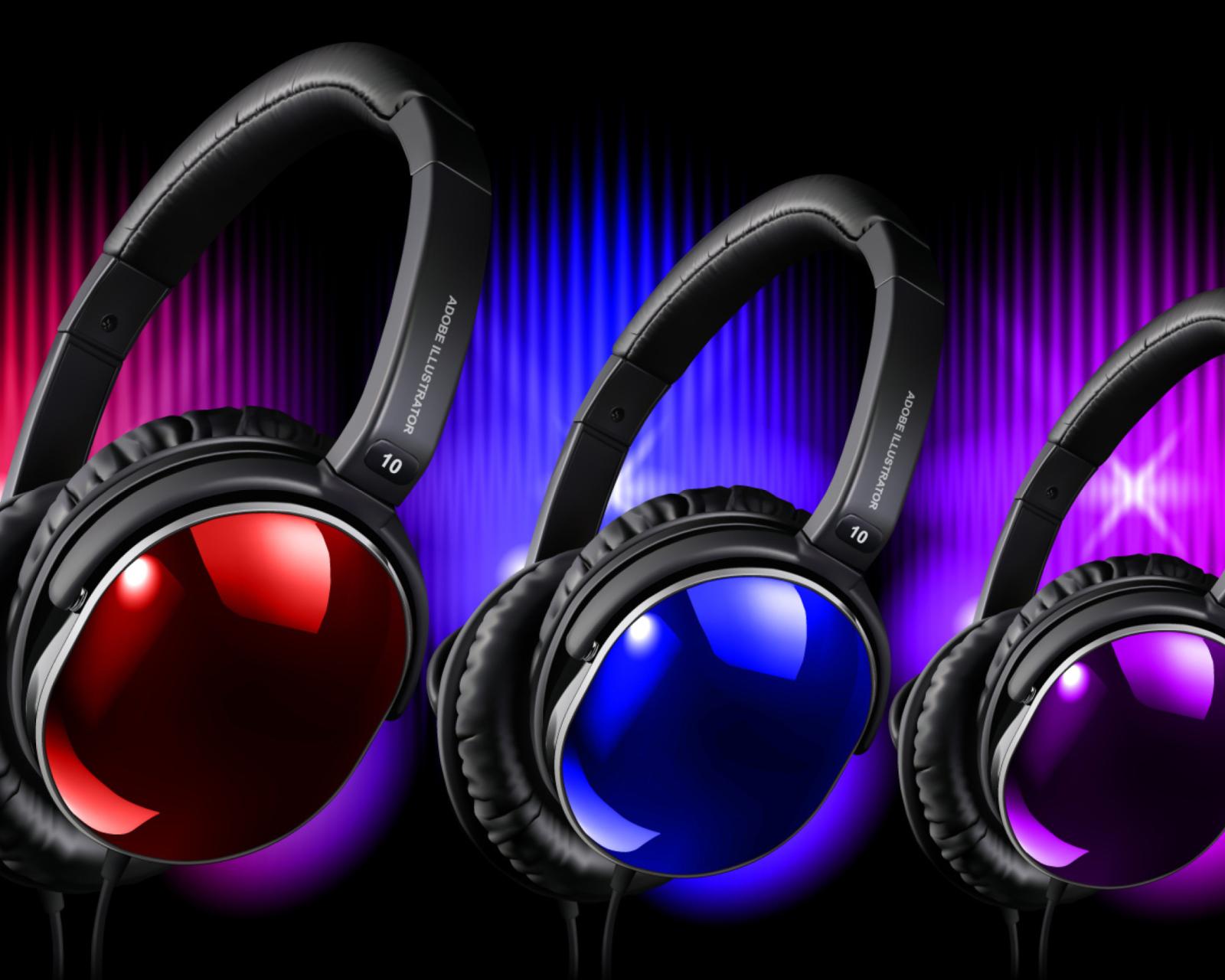 Colorful Headphones wallpaper 1600x1280