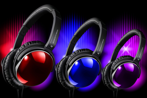 Colorful Headphones wallpaper 480x320