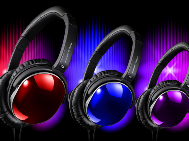 Colorful Headphones wallpaper 640x480