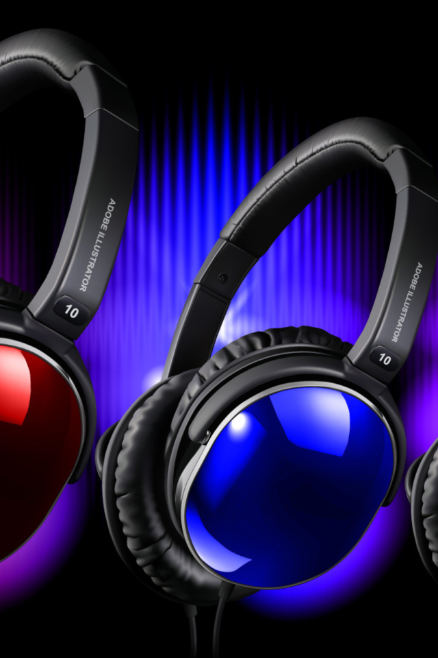 Colorful Headphones wallpaper 640x960