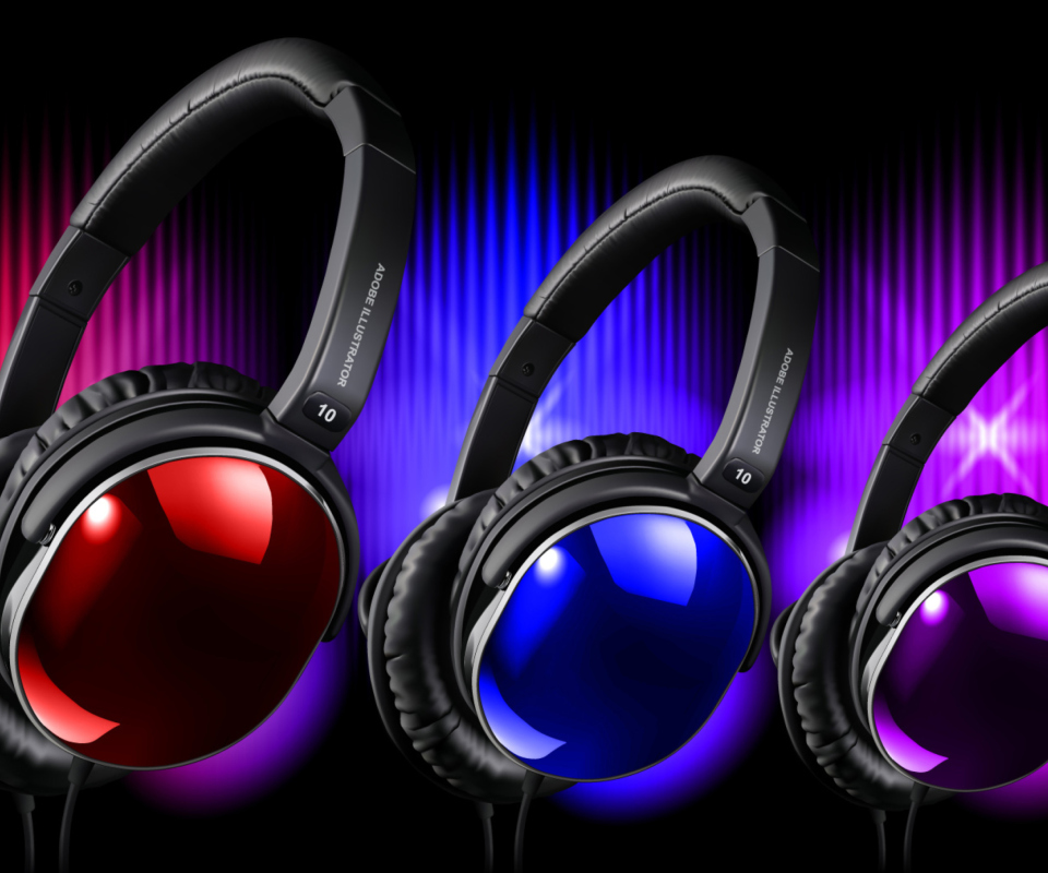 Colorful Headphones wallpaper 960x800