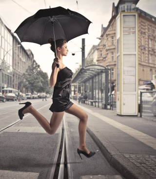 City Girl With Black Umbrella - Obrázkek zdarma pro iPhone 6
