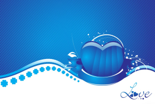 Blue Love Heart Background for Android, iPhone and iPad