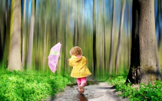 Child With Funny Pink Umbrella sfondi gratuiti per cellulari Android, iPhone, iPad e desktop