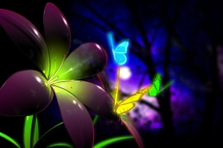 Phosphorescent Butterflies Background for Android, iPhone and iPad