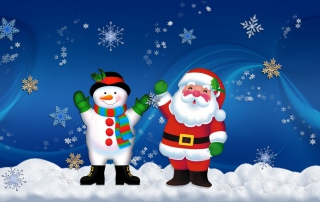 Santa Clause And Snowman Picture for Android, iPhone and iPad