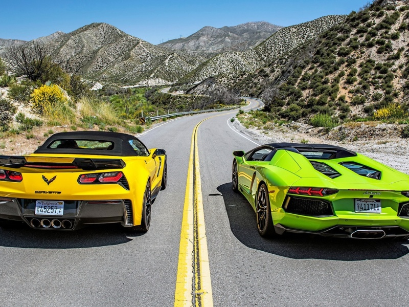 Screenshot №1 pro téma Chevrolet Corvette Stingray vs Lamborghini Aventador 800x600
