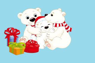 Polar Bears with Christmas Gifts Wallpaper for Android, iPhone and iPad