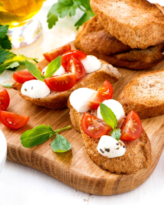 Canape Bruschetta, Mozzarella, Tomatoes Background for Nokia C1-01
