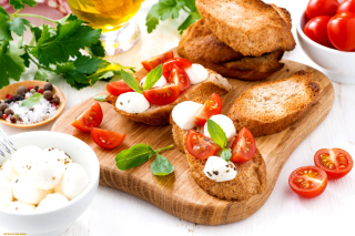 Canape Bruschetta, Mozzarella, Tomatoes Wallpaper for Android, iPhone and iPad