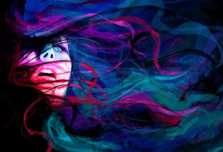 Girl Face Creative Abstraction Background for Android, iPhone and iPad